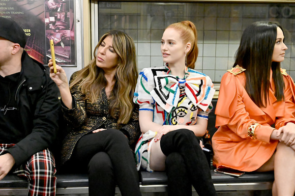 More Pics of Kacey Musgraves Leather Wristlet (1 of 16) - Kacey Musgraves Lookbook - StyleBistro [prefall 2020 runway show,people,fashion,snapshot,street fashion,sitting,fun,event,photography,performance,style,kacey musgraves,nina garcia,madelaine petsch,front row,l-r,front row,new york transit museum,brooklyn city,moschino]