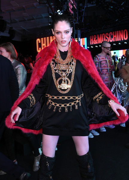 More Pics of Coco Rocha Over the Knee Boots (2 of 5) - Boots Lookbook - StyleBistro [fashion,pink,goth subculture,gothic fashion,costume,performance,event,fashion design,cosplay,fashion model,coco rocha,front row,pier 36,new york city,moschino,h m]