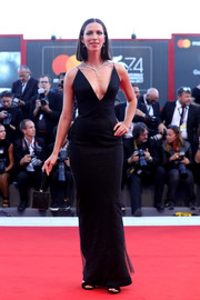 Rebecca Hall slayed in a plunging, curve-hugging black gown by Armani at the Venice Film Festival premiere of 'Mother!'