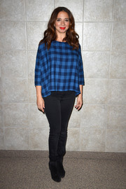 Maya Rudolph was casual and cool in a loose blue checkered top at the Sundance Film Fest premiere of 'Mr. Pig.'