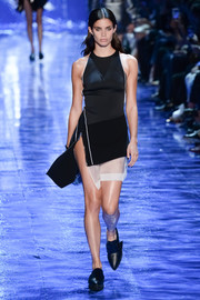 Pointy black loafers completed Sara Sampaio's runway look.