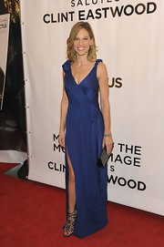 "Hilary complemented her elegant Calvin Klein gown with a fantastic pair of ""Verity multi strap"" sandals."