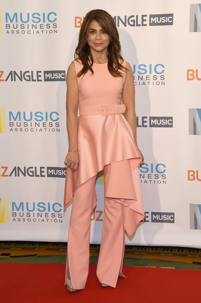 Paula Abdul went matchy-matchy, pairing her top with pink wide-leg pants.
