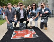 Jared Followill looked every bit the rock star in a black leather jacket and wayfarers during his band's Music City Walk of Fame Induction Ceremony.