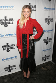 Kelsea Ballerini added a dose of edge with a black mermaid-hem leather skirt.