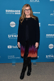 Connie Britton attended the Sundance premiere of 'The Mustang' wearing a black coat with a colorful hem.