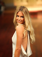 Jennifer Hawkins wore her hair long and tousled while walking the runway at the Myer A/W fall 2012 fashion show.