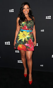 Sanaa Lathan's tropical-print dress was a super fun and bright summery look.
