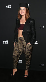 Jojo rocked a draped leather jacket while at the Myspace event in LA.