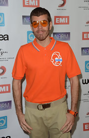 In keeping with his orange theme, Perez Hilton wore these aviators to the Narm Music Biz Awards.