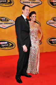 Kyle cleaned up nicely outside of his racing gear in a handsome black suit.