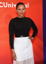 Melanie Brown was monochrome-chic in her black sweater and white eyelet skirt combo at the NBC New York Summer Press Day.