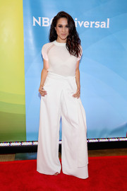 Meghan Markle was casual-chic in a semi-sheer white knit top during NBC's 2015 New York Summer Press Day.