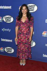 America Ferrera donned an ankle-length print dress by Saloni for NBC's Comedy Starts Here.