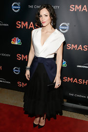 Katharine McPhee paired her bow-detailed dress with black stilettos.