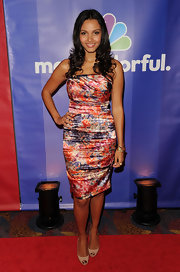 Jessica Lucas looked stunning in nude peep-toe pumps at NBC Universal's 2010 Upfront Presentation.