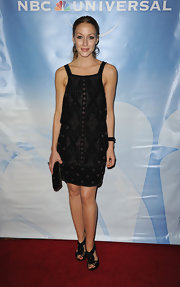 Jennifer wore a delicately beaded cocktail dress with a sweet hippy silhouette.