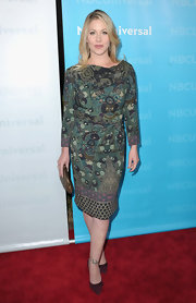 Christina Applegate wore a lovely print frock for the TCA Press Tour All-Star Party.