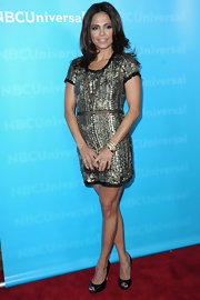 Azita Ghanizada was a beaded beauty at the TCA All-Star Party in a old emblazoned cocktail dress.