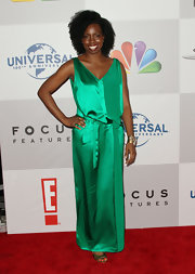 Adepero Oduye wore the color of the season in this emerald silk dress at the Golden Globes after-party.