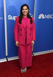 America Ferrera brought a vibrant pop of color to the 'Superstore' Academy FYC event with this fuchsia pantsuit by Kate Spade.