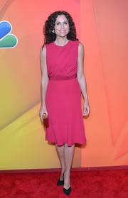 Minnie Driver looked ageless in this simple yet classic pink frock during the NBC Upfront Presentation.