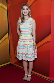 Ella opted for a fun and playful embroidered A-line for the '2013 Summer TCA Tour.'