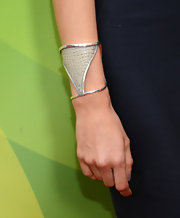 Karolina Kurkova slipped on a sculptural silver cuff.