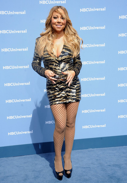 Mariah Carey attended the NBCUniversal Upfront wearing a zebra-sequined mini dress that could barely contain her curves!