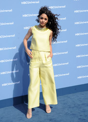 Vanessa Hudgens brightened up the blue carpet with this embellished lemon-yellow silk top by Monique Lhuillier during the NBCUniversal Upfront.