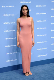 Padma Lakshmi turned heads in a curve-hugging pink tank dress during the NBCUniversal Upfront.
