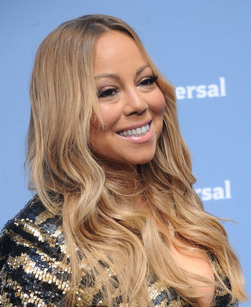 Mariah Carey went boho with this center-parted wavy hairstyle for the NBCUniversal Upfront.