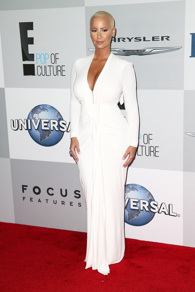 More Pics of Amber Rose Buzzcut (1 of 9) - Short Hairstyles Lookbook - StyleBistro [red carpet,carpet,clothing,dress,shoulder,white,gown,fashion,premiere,neck,amber rose,beverly hills,california,the beverly hilton hotel,golden globes,nbcuniversal,party,arrivals]