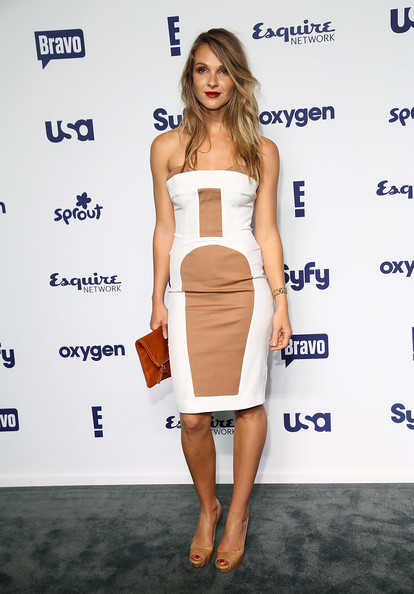 Beau Garrett was modern and sexy in a white and nude strapless dress during the NBCUniversal Cable Entertainment Upfronts.