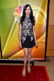 Famke Janssen showed off her long legs in an embroidered mini dress at the NBCUniversal Press Junket.