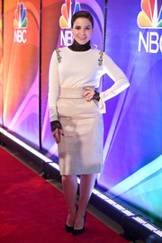 Sophia Bush was casual and cute in a white Dorothee Schumacher sweater with embroidered shoulders, which she layered over a black lace turtleneck, during the NBCUniversal Press Junket.