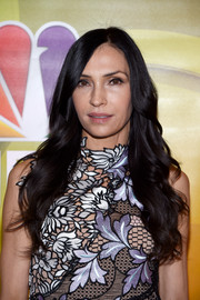 Famke Janssen sported super-long curls at the NBCUniversal Press Junket.