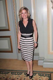 Cat Cora wore this chic black-and-white ruffled dress to NBC Summer Press Day.