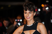 Alicia Keys accessorized her cut-out dress with a sparkly collar necklace.
