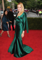 Greta Gerwig took a trip to Emerald City at the Met Gala in this draped green gown.