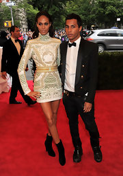 Joan Smalls was a vision at the Met Gala in this studded textured mini.