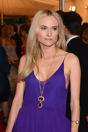 Diane Kruger added a Victorian gold and amethyst pendant necklace to her lovely look at the Met Gala.