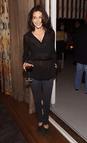 Teri looked a little shocking, but sexy, in a sheer black, v-neck blouse which showed off a lacy black bra.