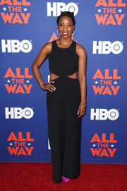 Hilary Ward attended the special screening of 'All the Way' rocking a black cutout jumpsuit.