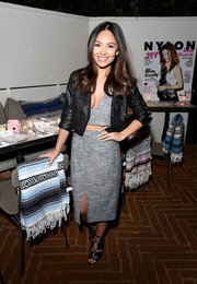 Marianna Hewitt finished off her look with a pair of black gladiator heels.
