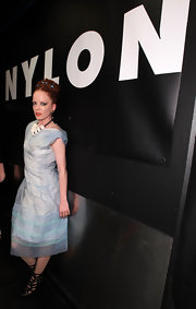 Shirley Manson gave her feminine look a rock n' roll feel with a pair of black Jerome C. Rousseau cut-out ankle boots.