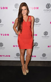 Electra wore this spicy red bandage dress to the 'Nylon' celebration.
