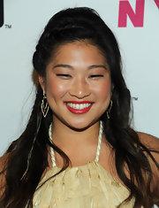 Jenna Ushkowitz vamped up her radiant look with a dash of red lipstick for the NYLON Magazine party.