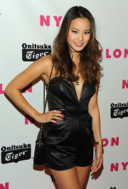 Jaime Chung accented her plunging neckline with a gemstone emblem necklace at 'NYLON' magazine's issue celebration.