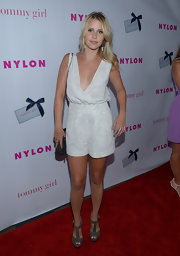 Claire Holt hit the red carpet wearing khaki suede studded sandals that showed off her soft shell pink pedicure.